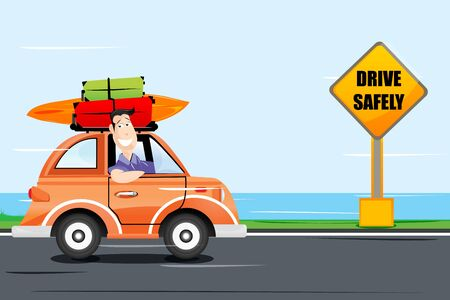 road safety: illustration of man driving car on the way Illustration