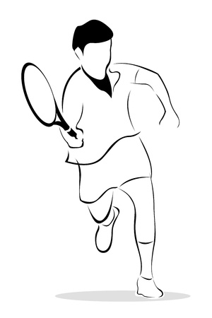 illustration of sketch of tennis player on isolated background Vector