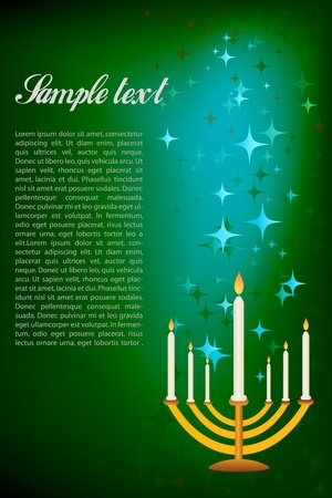 candleholder: illustration of hanukkah card with candle stand