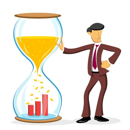 illustration of businessman standing with hourglass on white background Illustration