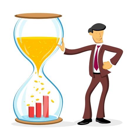sales executive: Ilustraci�n del hombre de negocios de pie con reloj de arena sobre fondo blanco