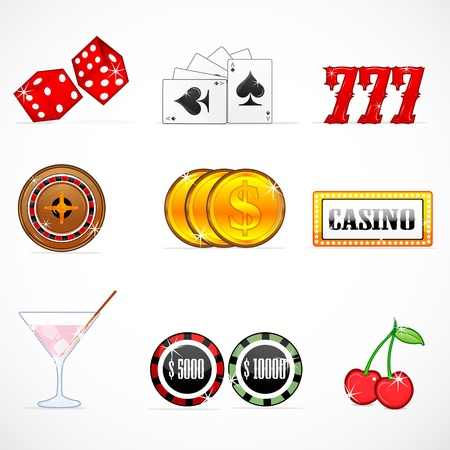 jackpot: illustration of casino icons on white background Illustration