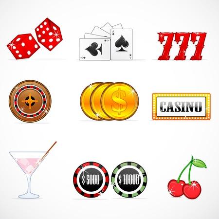 illustration of casino icons on white background