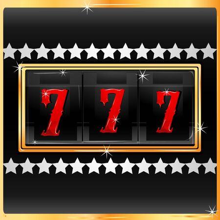 jackpot: Illustration du chiffre chanceux dans la machine � sous de casino