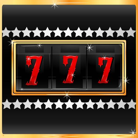 illustration of lucky number in slot machine for casino Vector