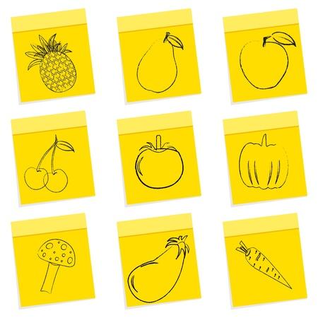 chit: illustration of fruit & vegetables sketch on chit sticker