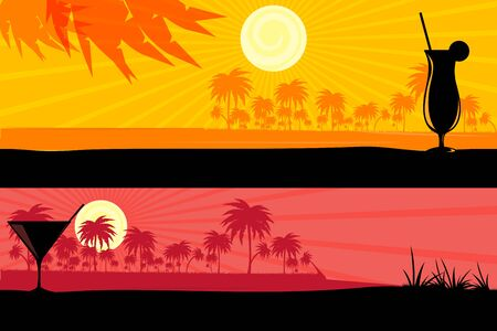 illustration of morning & evening scenes Stock Vector - 8247607