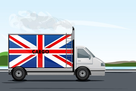 illustration of illustration of england lorry on road Stock Vector - 8247652