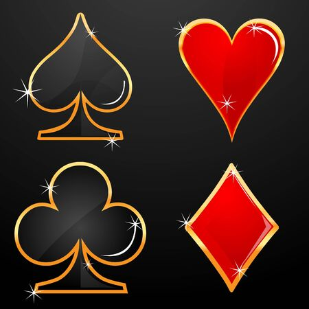 clubs diamonds: illustration of casino icons