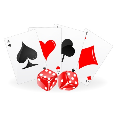 illustration of playing card with dice on white background Vector