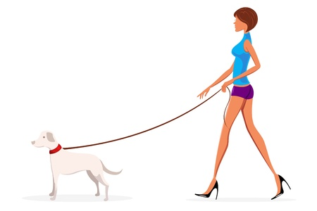 dog walking: illustration of lady with dog on white background