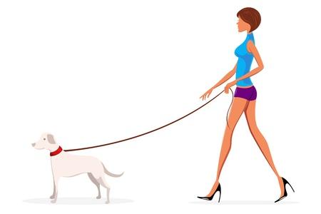 illustration of lady with dog on white background