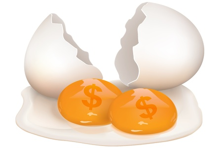 yolks: illustration of broken egg with dollar icon on white background Illustration