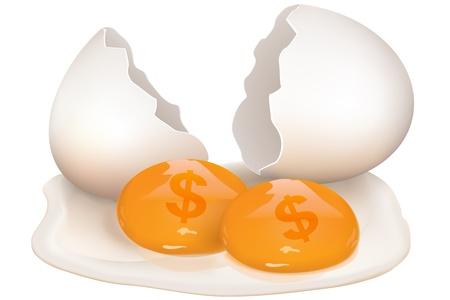 aves de corral: Ilustraci�n de huevo roto con icono de d�lar sobre fondo blanco