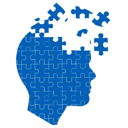 solution icon: illustration of mans mind with jigsaw puzzle on white background