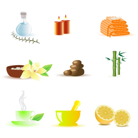 aromatherapy oil: illustration of spa icons on white background