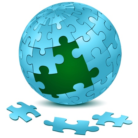 illustration of jigsaw puzzle on earth Vector