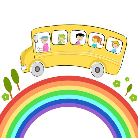 illustration of world tour with bus on rainbow Vector