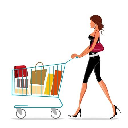 mujer en el supermercado: Ilustración de compras dama con carro sobre fondo blanco
