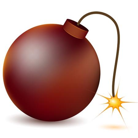 bomba a orologeria: illustrazione di bruciare la bomba atomica su sfondo bianco