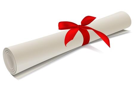 Ilustración de grado de diploma sobre fondo blanco