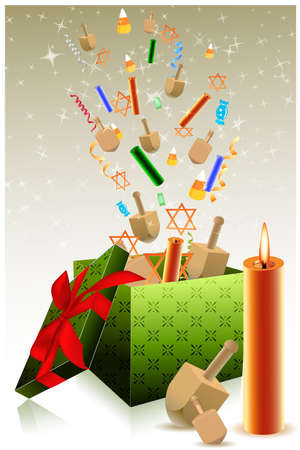 shalom: illustration of hanukkah gift box