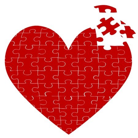 illustration of heart jigsaw puzzle on white background Stock Vector - 8246904