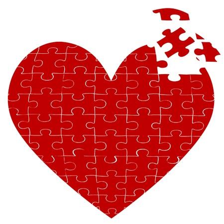 assemble: illustration of heart jigsaw puzzle on white background