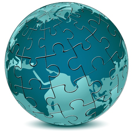 world group: illustration of earth jigsaw puzzle on white background