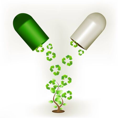 illustration of recycle capsule with tree on white background
