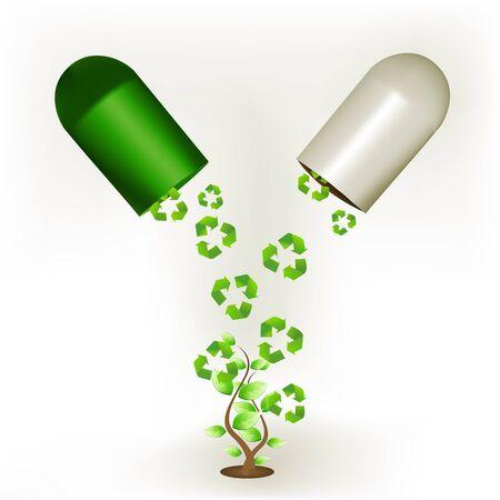 Ilustración de la cápsula de reciclaje con árbol sobre fondo blanco