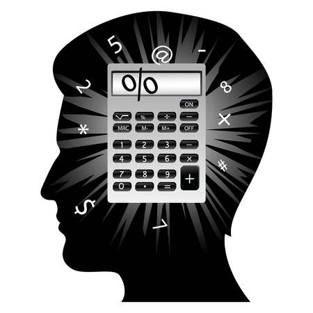 illustration of creative mans mind with calculator on white background Vector