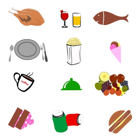 illustration of junk food o white background