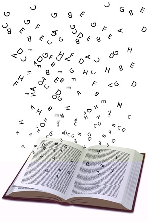illustration of book with flying text Vector