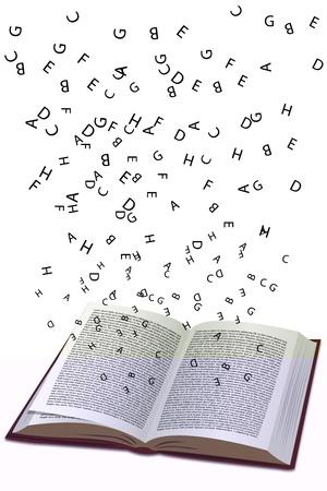libros volando: Ilustraci�n del libro con volar el texto