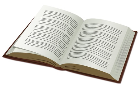 guidebook: illustration of open book on white background