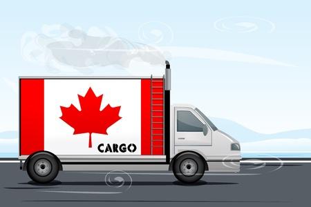 illustation: illustation of canada cargo with lorry