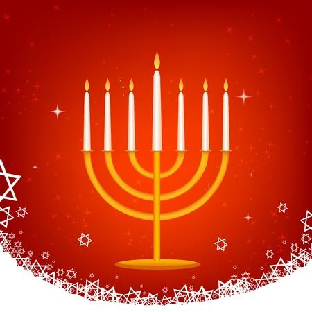 chanukah: illustration of decorated hanukkah card Illustration