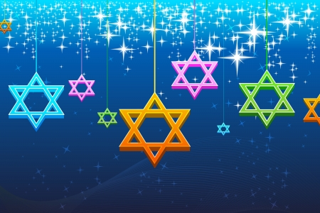 illustration of multicolorful hanukkah card
