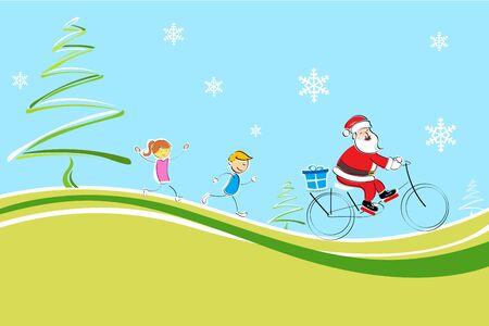 illustration of cheerful christmas card with santa, kids and x-mas tree Vector