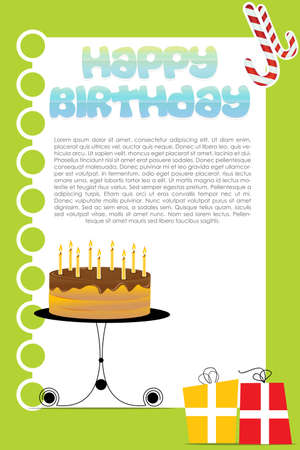 illustration of birthday card on white background Stock Vector - 8247571