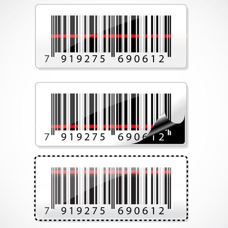barcode scan: illustration of barcode with rays on white background