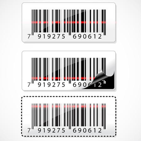 barcode scan: Ilustraci�n de c�digo de barras con rayos sobre fondo blanco Vectores
