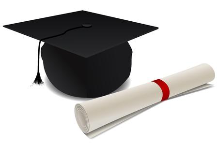 degree: illustrazione del cappello di dottorato con grado su sfondo bianco