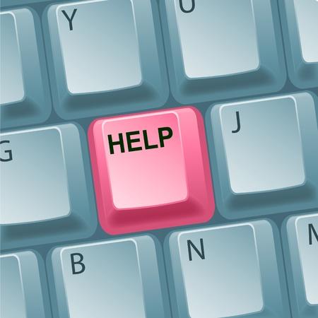 illustration of help key on keyboard Vector