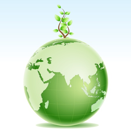 green globe: illustration of healthy environment Illustration