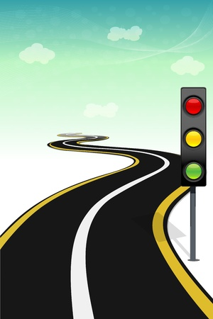 illustration of way with traffic  signal Vector