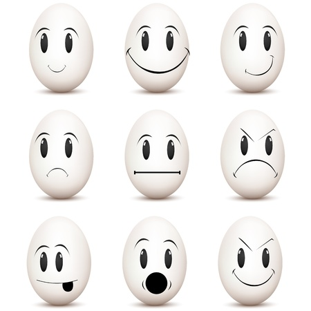 face expression: illustration of types of mood on white background