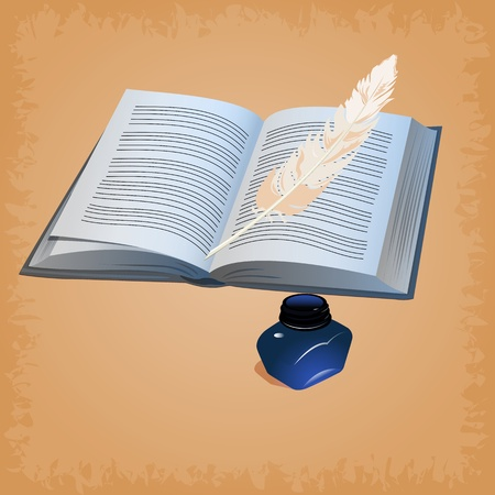 illustration of feather pen with open book Vector