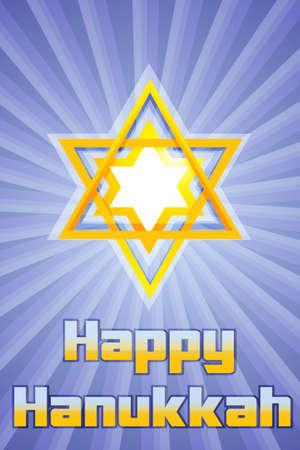 menora: illustration of happy hanukkah with star of david
